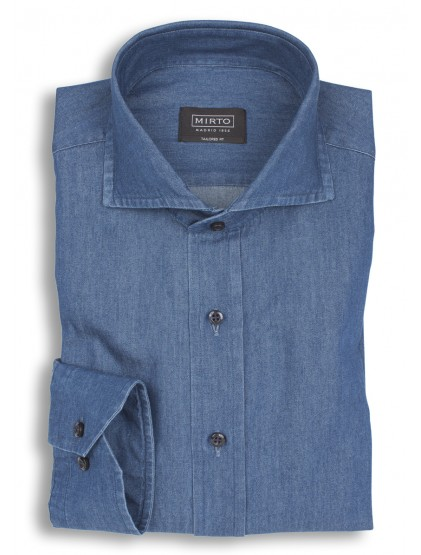 Camisa denim cuello italiano