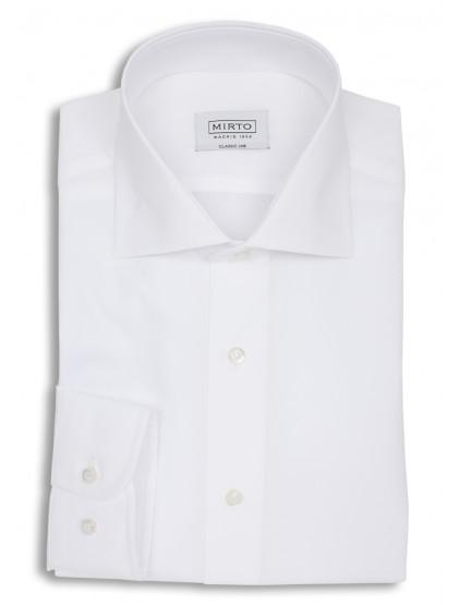 Camisa popelin cuello italiano puño mixto
