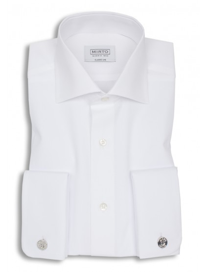 Camisa popelin cuello italiano puño doble